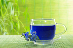 blue tea in cup on plants' background